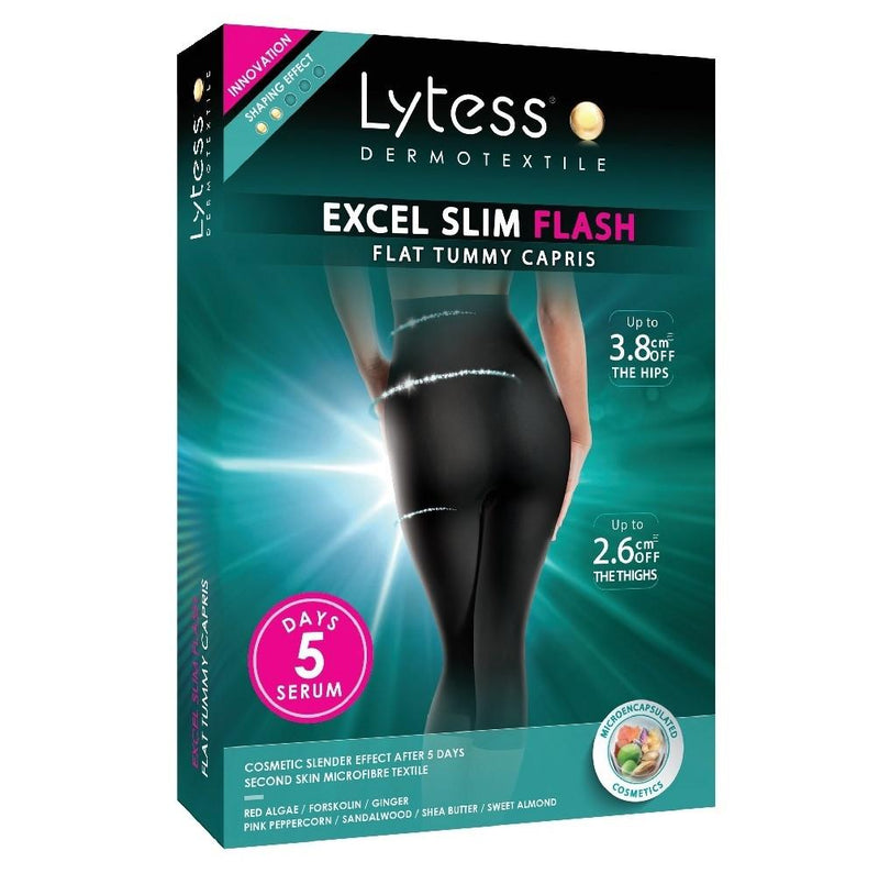 Excel Slim Flash Flat Tummy Capris Black L/Xl - BeautyOnWheels
