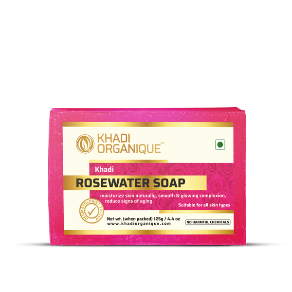 Khadi Organique-Rosewater Soap-BEAUTY ON WHEELS
