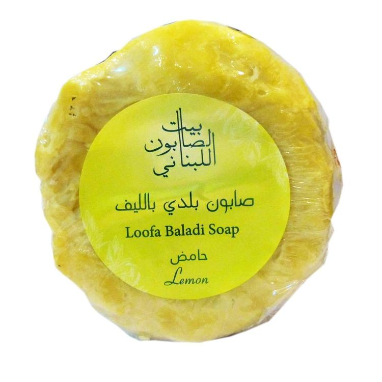 Bayt Al Saboun-Loofa Baladi Soap Lemon 300G Online UAE | BEAUTY ON WHEELS