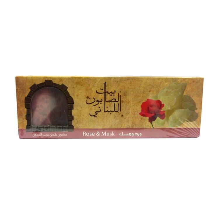 Bayt Al Saboun-Olive Oil Baladi Soap Rose & Musk 80G X3 Online UAE | BEAUTY ON WHEELS