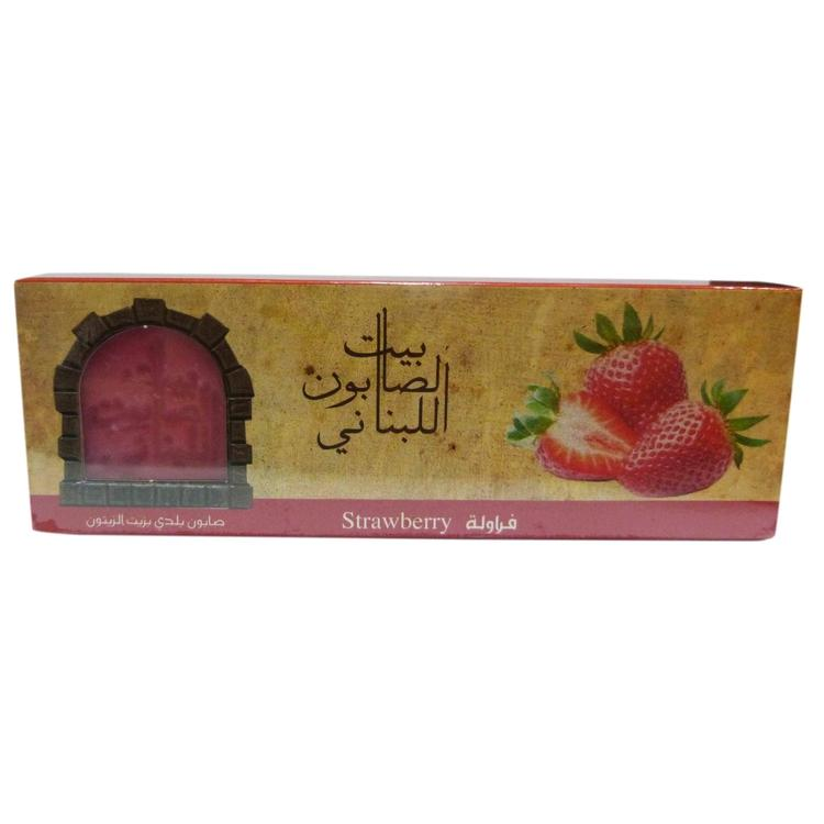 Olive Oil Baladi Soap Strawberry 80G X3-Body Care-Bayt Al Saboun-BEAUTY ON WHEELS-UAE-Dubai-Abudhabi-KSA-الامارات