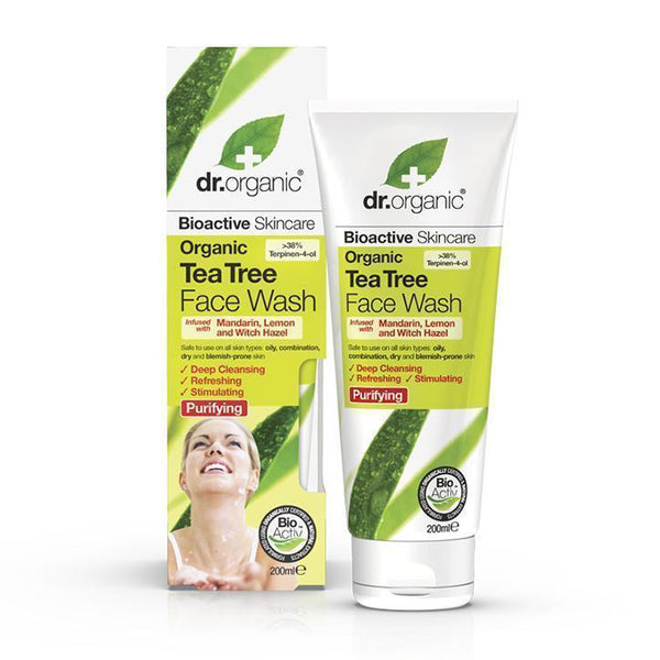 Tea Tree Face Wash 200Ml-Face Care-Dr Organic-BEAUTY ON WHEELS-UAE-Dubai-Abudhabi-KSA-الامارات