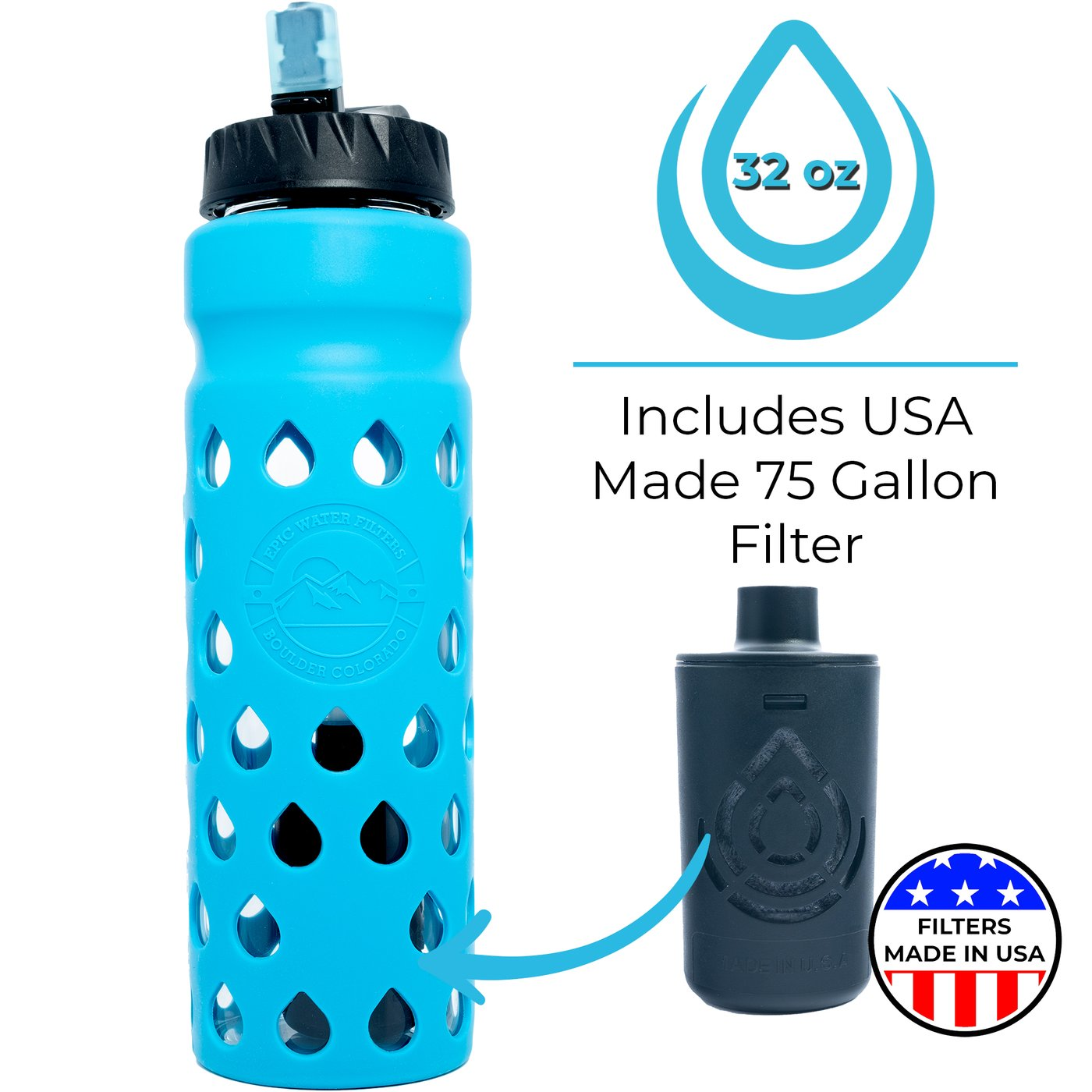 The Escape 2020 Glass Water Bottle With Filter Epic Water Filters Uk
