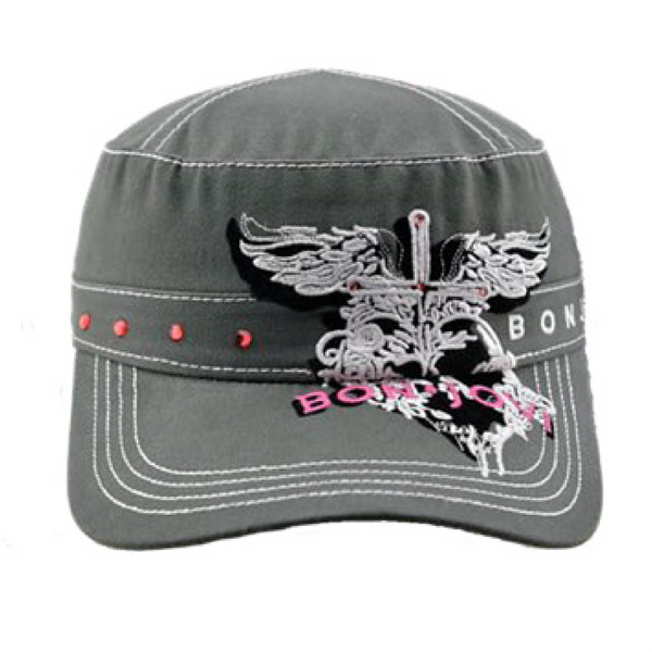 Women's Grey Embroidered Cadet Hat