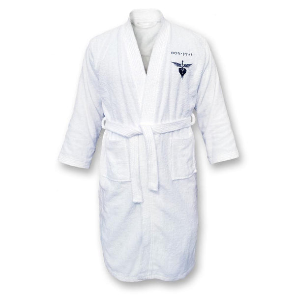 Embroidered Logo White Terry Cloth Robe