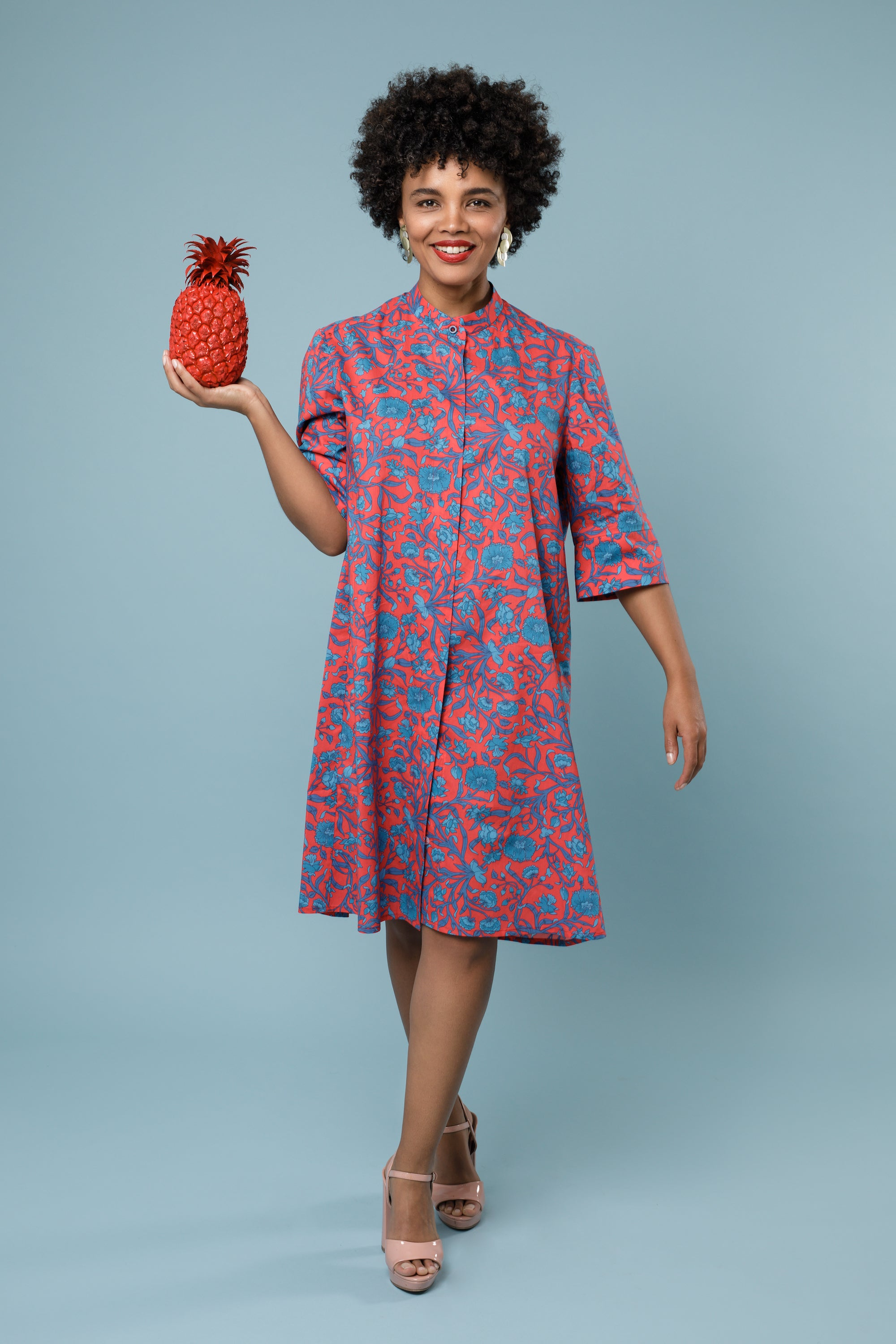 Short Cotton Shirt Dress Patterned