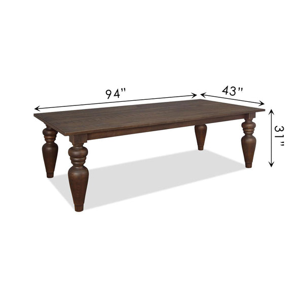 "Flora Dining Table with 7"" Turning Legs"