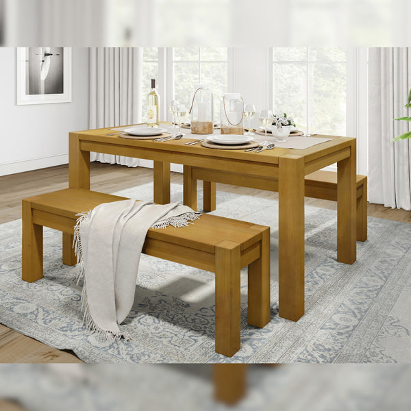 "Kubo solid wood dining table, 63"" Light brown"