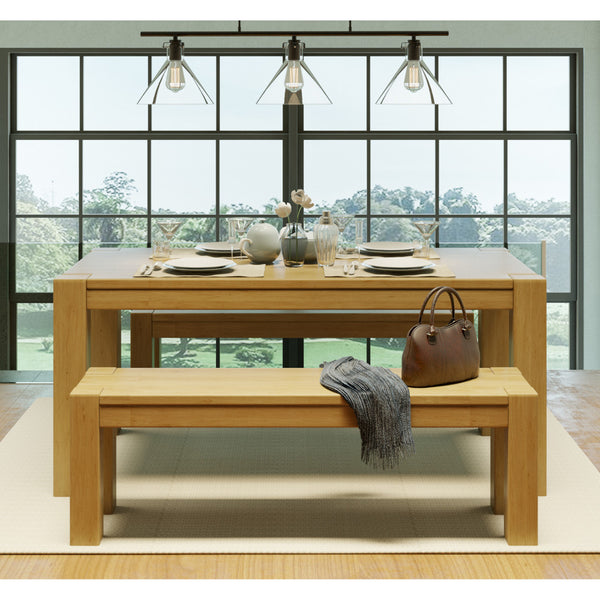 Kubo Dining Set Garapa Color with 2 benches - Artefama Furniture