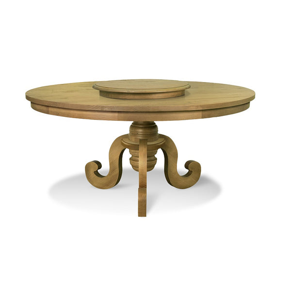 Round dining table Phill designed in a farmhouse style with rustic characteristics. Atop a lazy susan from the same collection. All made from solid pine wood.