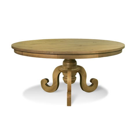 Round dining table Phill designed in a farmhouse style with rustic characteristics.