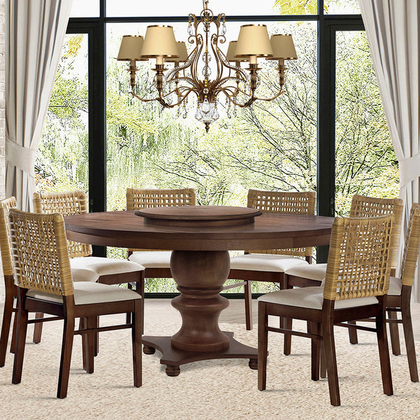 Round dining table Filomena with 8 chairs composing a dining room.