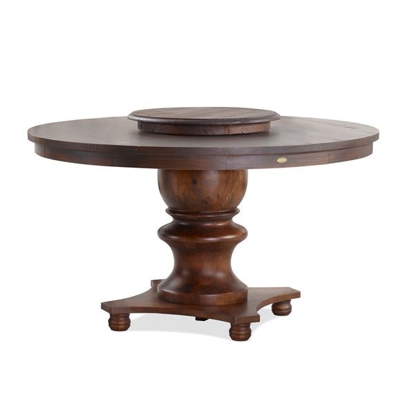 Filomena round dining table with lazy susan on top. Solid wood furniture made with pine wood.