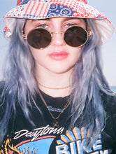 Load image into Gallery viewer, Nomi 90s Faux Gold Round Sunglasses