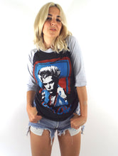 Load image into Gallery viewer, Vintage 80s Black and Grey Billy Idol White Wedding Baseball Tee Size Small