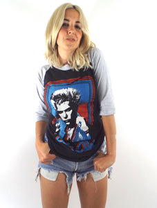 Vintage 80s Black and Grey Billy Idol White Wedding Baseball Tee Size Small