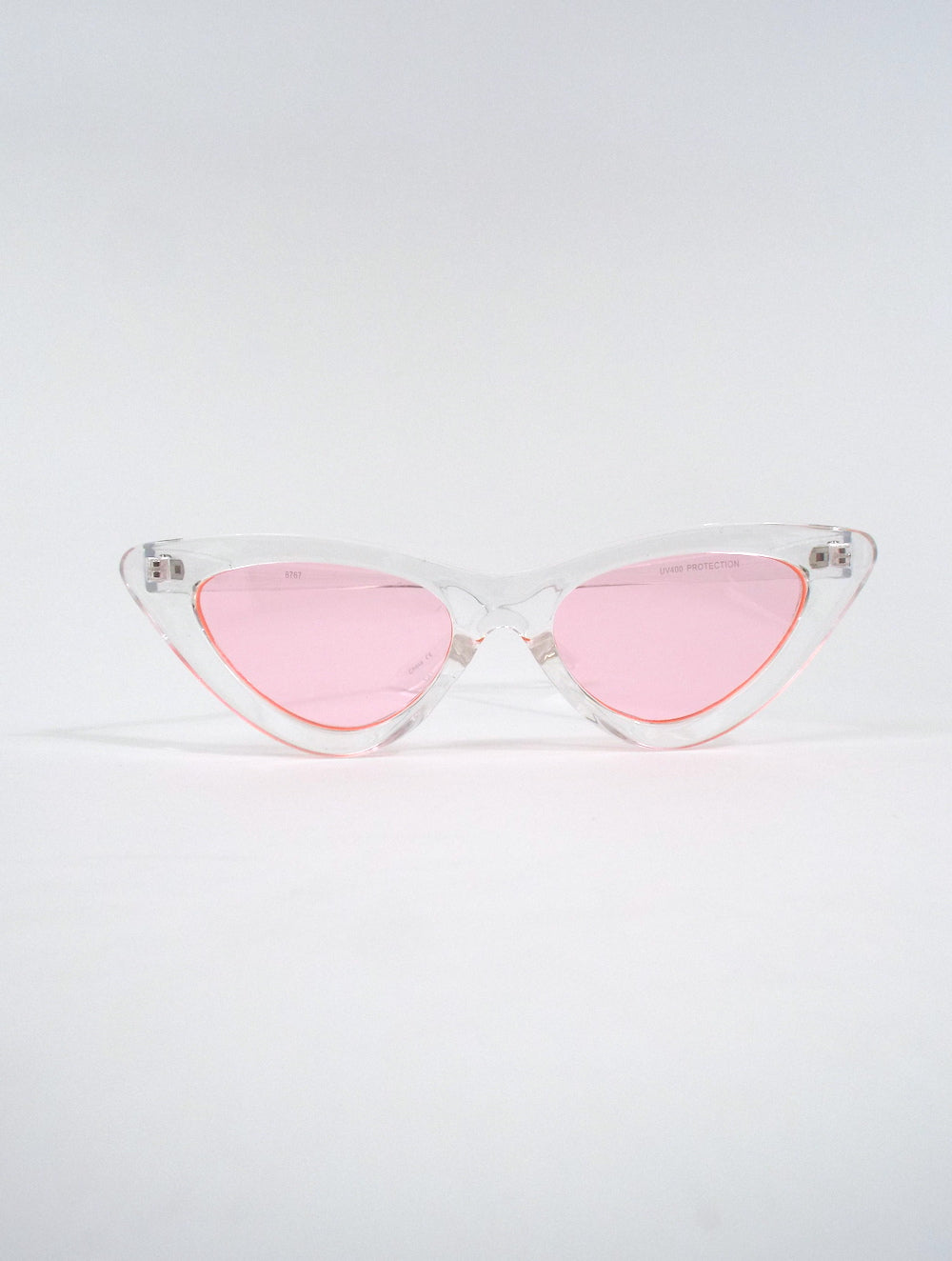 d9aa5feeb6 Space Babe Clear Skinny Cat Eye Sunglasses – Total Recall Vintage
