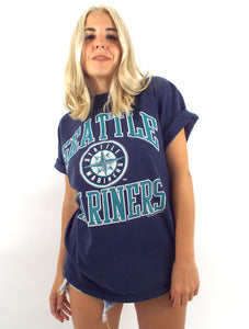 Vintage 90s Faded Blue Seattle Mariners Tee -- Size Small/Medium