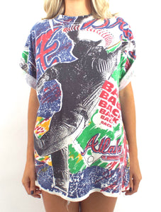 Vintage 90s Atlanta Braves Allover Printed Tee