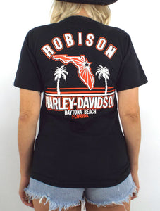 Vintage 80s Daytona Beach Bike Week Chrome Lettering Tee