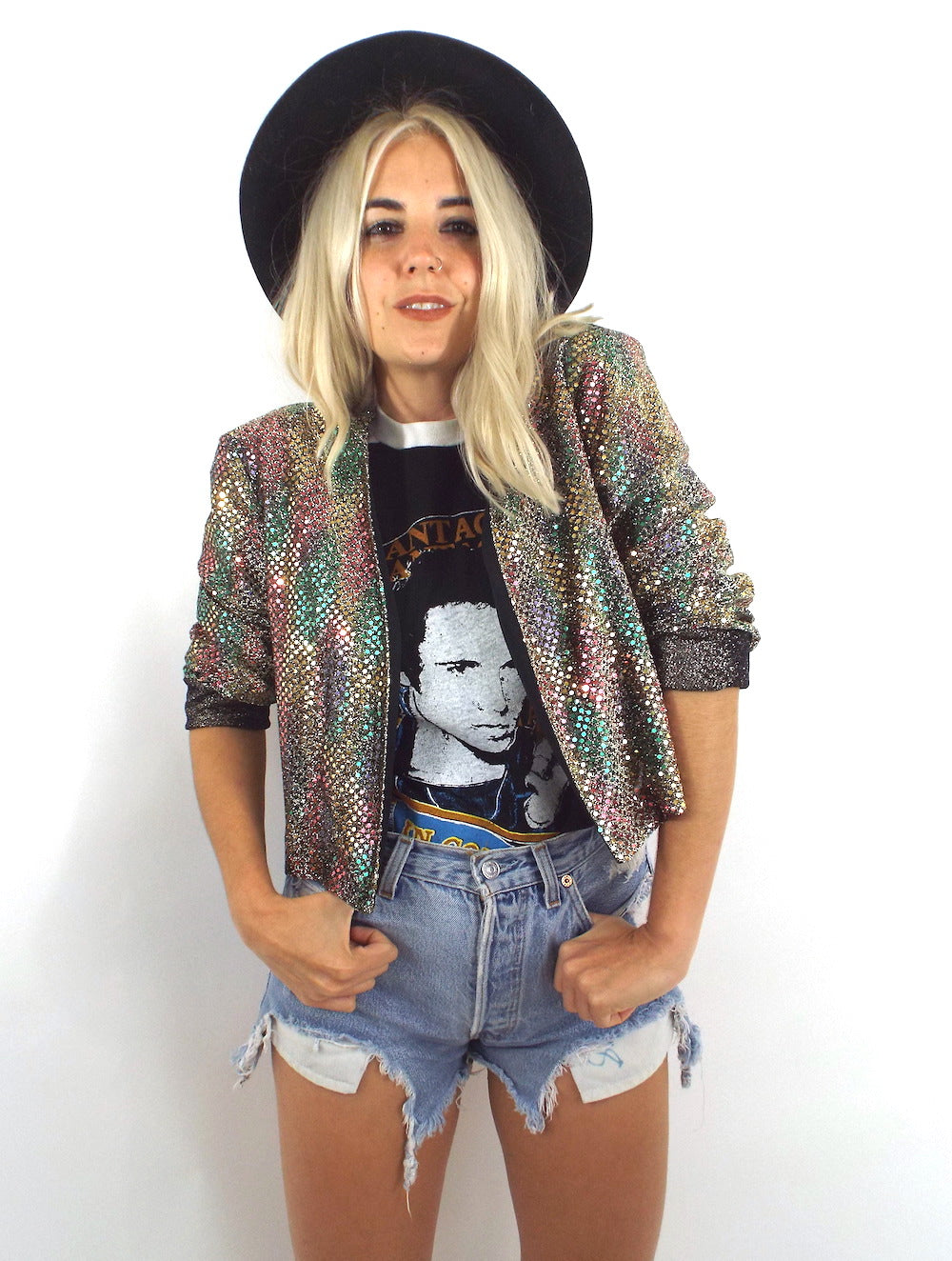 Vintage Rainbow Sequined Open Front Jacket