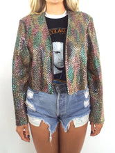 Load image into Gallery viewer, Vintage Rainbow Sequined Open Front Jacket