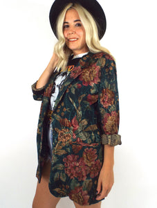 Vintage Long Floral and Paisley Print Blazer