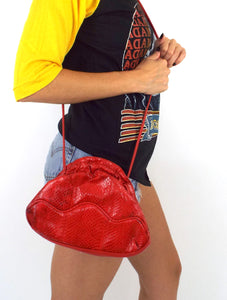 Vintage 80s Red Faux Snakeskin Crossbody Purse