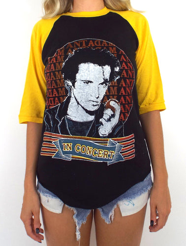 Vintage 80s Black and Yellow Adam Ant Baseball Tee