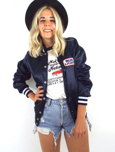 Vintage 80s Navy Blue Bud Light Satin Varsity-Style Jacket
