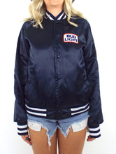 Load image into Gallery viewer, Vintage 80s Navy Blue Bud Light Satin Varsity-Style Jacket