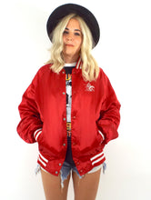 Load image into Gallery viewer, Vintage 80s Red Budweiser Satin Varsity-Style Jacket