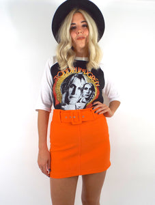 Vintage 90s Orange Belted High-Waist Mini Skirt