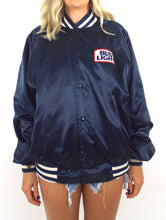 Load image into Gallery viewer, Vintage 80s Navy Blue Bud Light Satin Varsity-Style Jacket - Size Medium