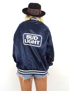 Vintage 80s Navy Blue Bud Light Satin Varsity-Style Jacket - Size Medium