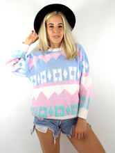 Load image into Gallery viewer, Vintage 80s Pastel Geometric Print Sweater