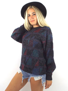 Vintage 90s Cozy Triangle Print Oversized Graphic Sweater
