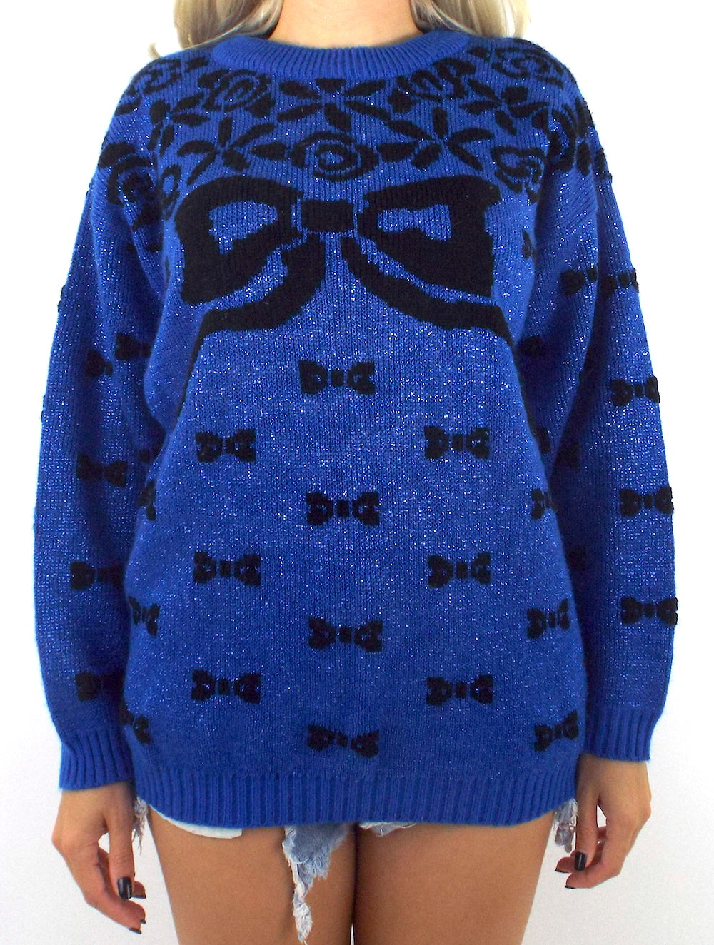 Vintage 80s Glittery Blue Bow Design Sweater