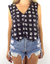Load image into Gallery viewer, Vintage 80s Silk Black and Silver Square Design Sequined Crop Top