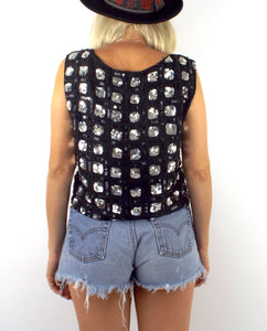 Vintage 80s Silk Black and Silver Square Design Sequined Crop Top