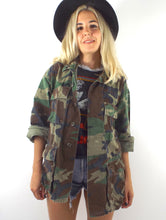 Load image into Gallery viewer, Vintage Oversized Distressed Camouflage Print Army Jacket