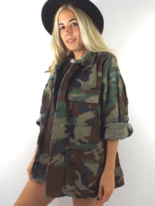 Vintage Oversized Distressed Camouflage Print Army Jacket