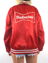 Load image into Gallery viewer, Vintage 80s Red Budweiser Logo Satin Varsity-Style Jacket