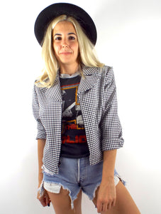 Vintage 90s Cropped Gingham Print Zip Front Blazer