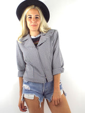 Load image into Gallery viewer, Vintage 90s Cropped Gingham Print Zip Front Blazer