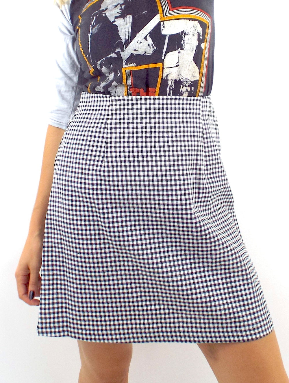 Vintage 90s High-Waist A-Line Gingham Print Skirt -- Size Medium