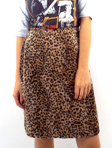 Vintage 90s High-Waist Fuzzy Leopard Print Pencil Skirt -- Size 28