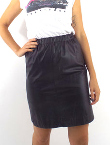 Vintage High Elastic Waist Black Leather Pencil Skirt -- Size Small