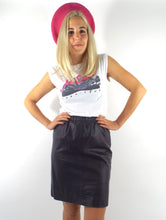 Load image into Gallery viewer, Vintage High Elastic Waist Black Leather Pencil Skirt -- Size Small