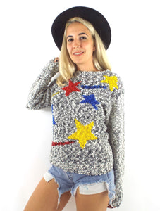 Vintage Grey Slouchy Star Print Sweater